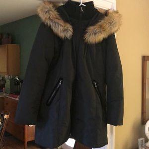 INC Front-Zip Faux-Fur Trim Hooded Puffer Coat
